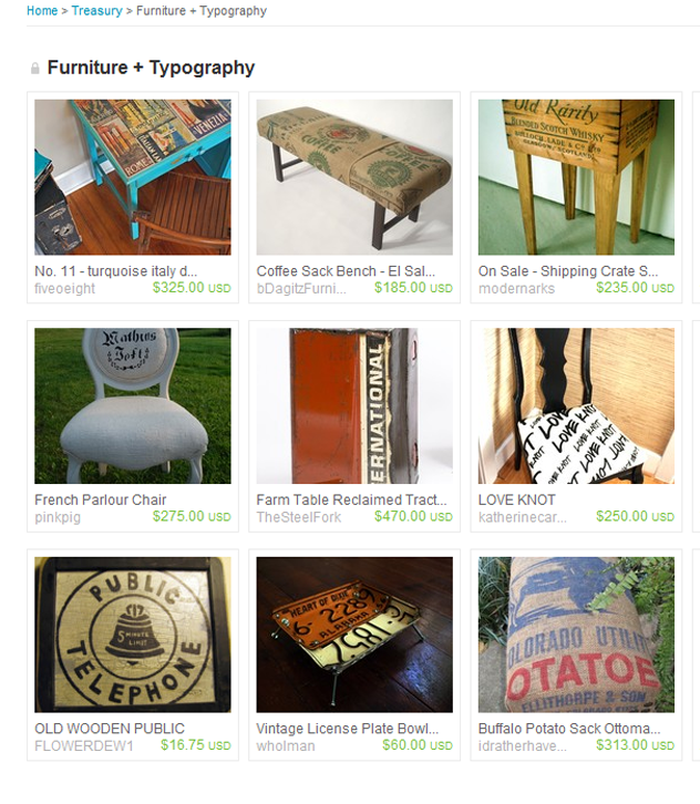 """Furniture + Typography"" Etsy Treasury"