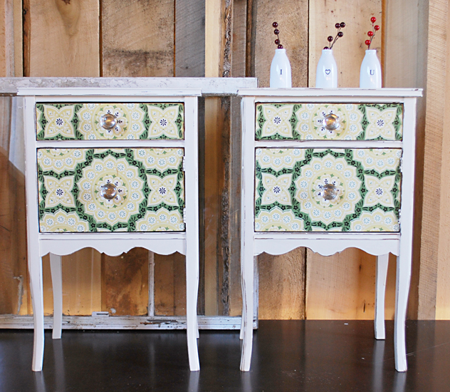 no. 16 end tables with vintage wallpaper