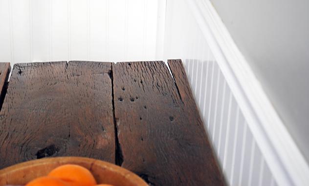 barnwood farm table close up