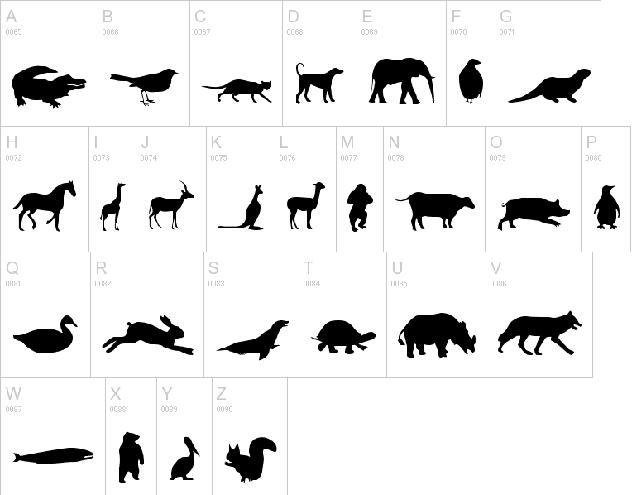 animal silouhette font