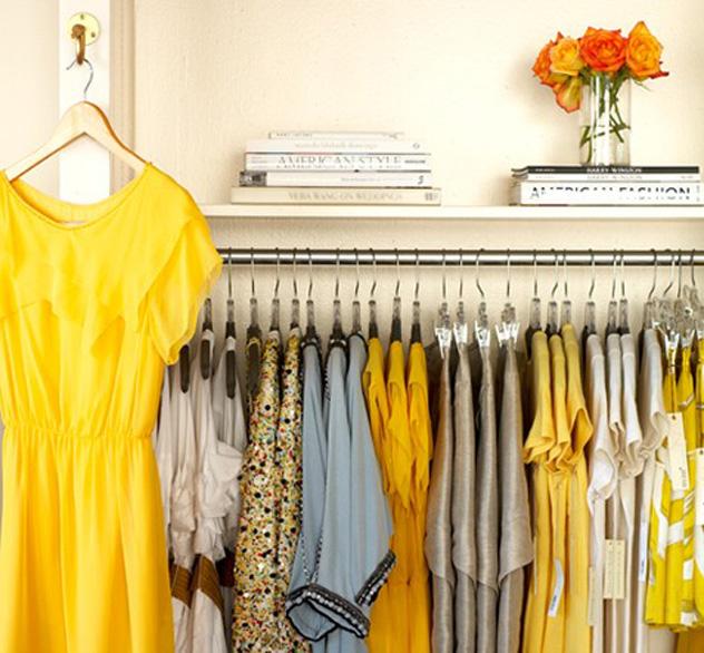 vintage yellow and gray closet