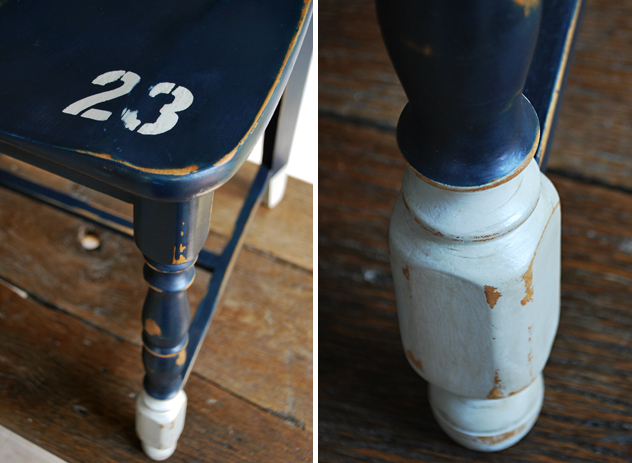 No. 23 navy blue and gray painted chair