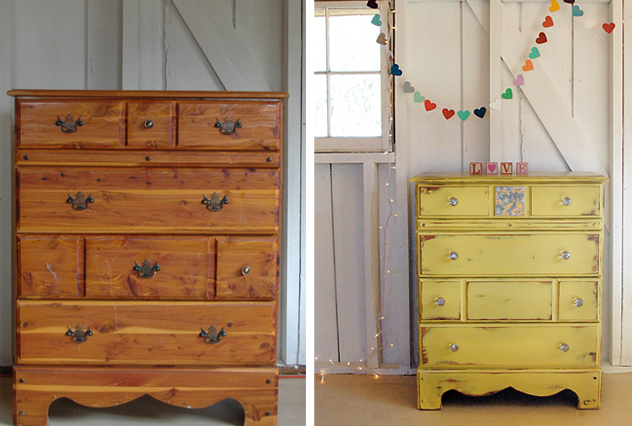 508 painted yellow dresser before and after no.29