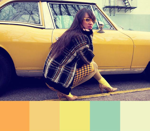 vintage plaid and yellow color pallette