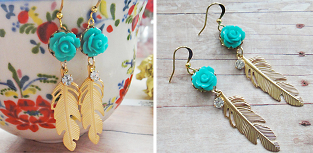 turquoise and gold feather earings, valentines day