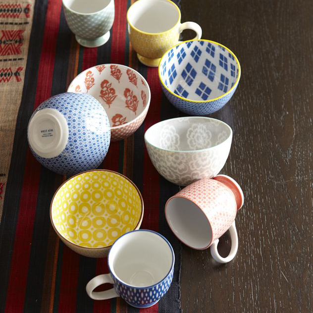 patterned coffee mugs by west elm